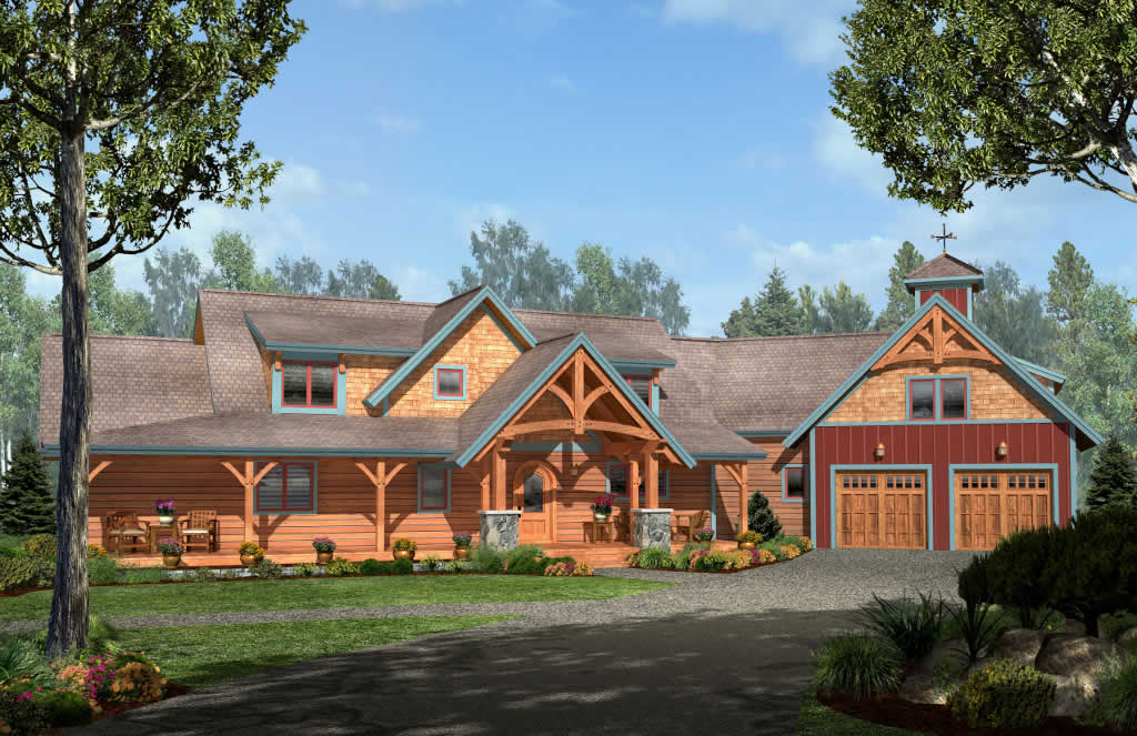 Ohio timber frame homes chestnut timber frames for Timber frame ranch home plans