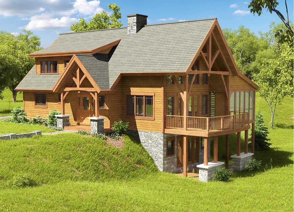 Ohio timber frame homes chestnut timber frames for Timber frame farmhouse plans